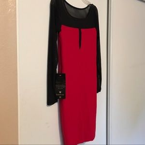 bebe Red Mini Dress w/ Black Mesh Long Sleeves